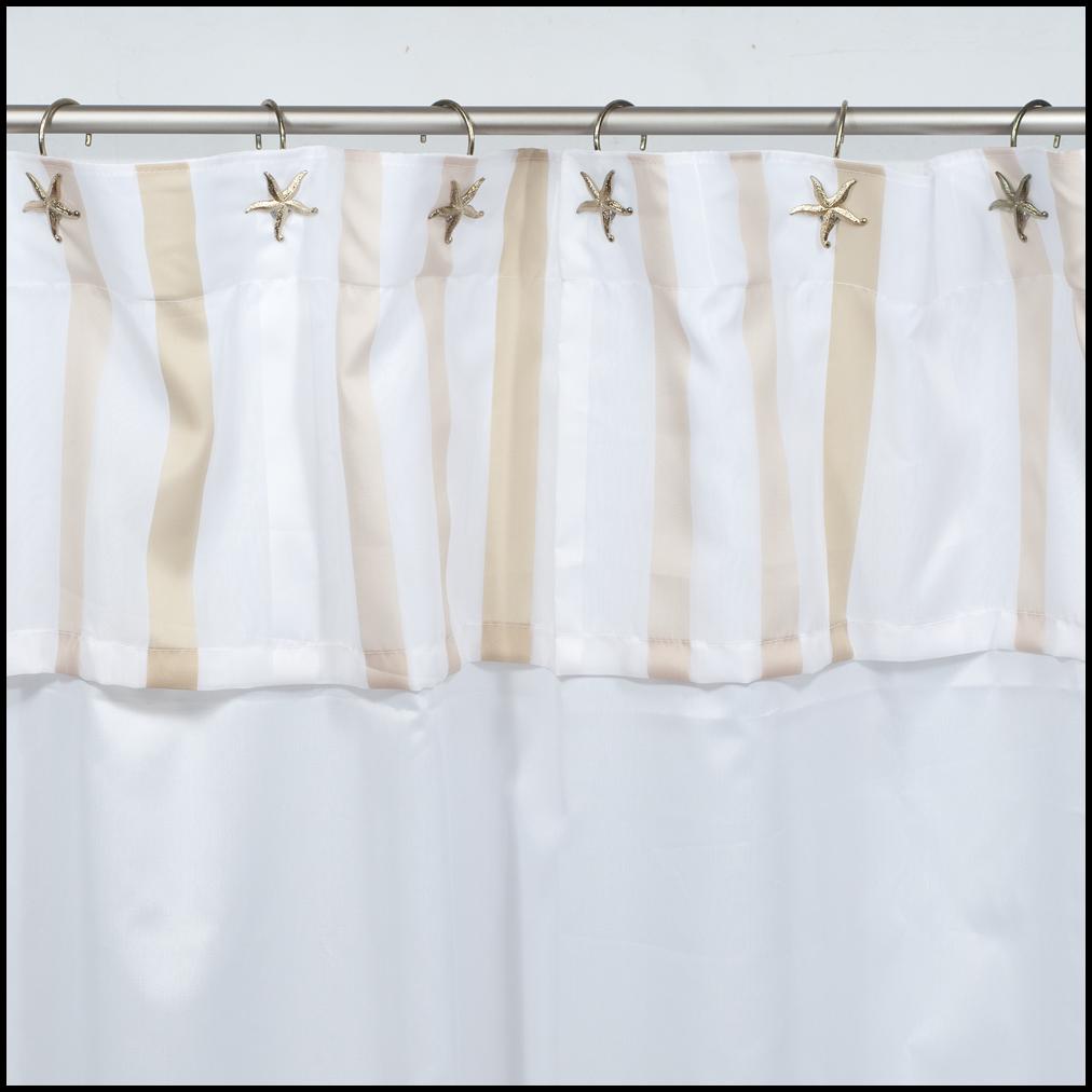 Cortinas De Baño Blancas:Art 10066 Cortina de baño blanca con bajos y volado – beige