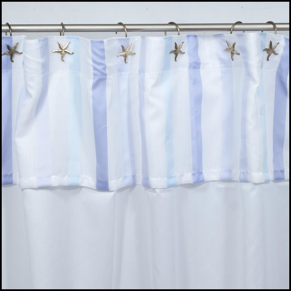 Cortinas De Baño Tela Blanca:Art 10066 Cortina de baño blanca con bajos y volado – lila y celeste